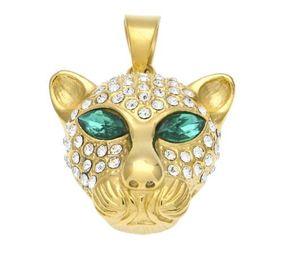 Chaude émeraude vert gem yeux yeux strass leapoard pendentif bling collier deux taille big small leapoard hiphop mode bijoux couple collier