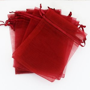 "Wholesale-13x18cm (5.1""x7.08"") 500pcs/lot Dark Red Organza Bag Wedding Jewelry Packaging Bag Cute Organza Pouches Drawstring Gift Bags"