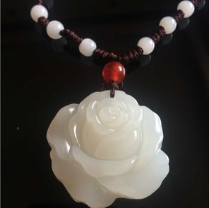 Natürliche Jaspis Xinjiang Hetian Jade weiße Pfingstrose Blume Anhänger weiblichen Rosen Jade Anhänger Anhänger Halskette
