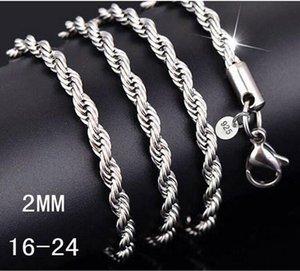 Collana con catena in argento Collana con catena da uomo 16-24 pollici con catena in corda da 2 mm. Risultati 925 di gioielli in argento 925 G215