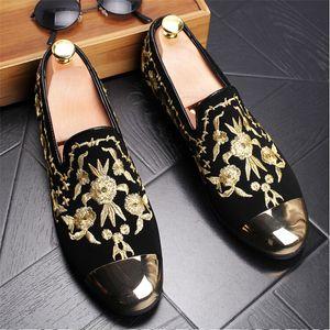 Человек мода замша мокасины мужские металлические Toe печатных вышивка вождения партии квартиры мужские мокасины оксфорды Повседневная обувь хорошее качество