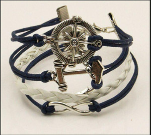Hot Jewelry Leather Rope Bracelets Bangles Charm Vintage Retro Infinity Love Anchor Cute Charm Silver plated Bracelets Handmade DIY Free DHL