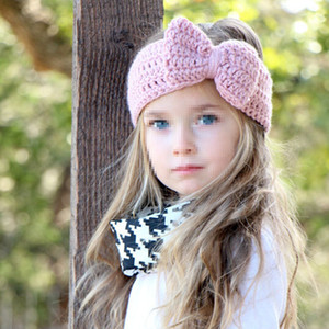 Hot Style Bow Hairband Butterfly Shaped Handmade Wool Knitting Hair Ornament Parent-child Suit Keeping Head Warm Headgear