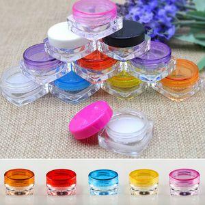 100 teile / los Reise Kosmetische Probe Container 3g Kunststoff Topf Gläser Kosmetische Container Reisebeispiel Fall 10 Farben
