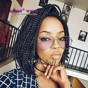 Heißer Verkauf Geflochtenes Haar Lace Front Perücke Synthetische Kurze Pixie Cut Voller Box Zöpfe Haar Lace Front Perücken für Schwarze Frauen