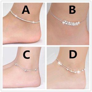 New Fashion Mixed Korean Style Silver Plated star ball Anklet Bracelet with Accessories For Women Girl Foot Bracelets Jewelry