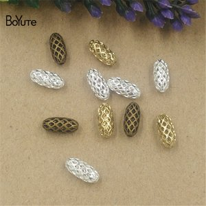 BoYuTe 100Pcs 3 Colors 4*10MM 5*11MM Hot sale Metal Filigree Brass Fashion Oval Beads Jewelry Making