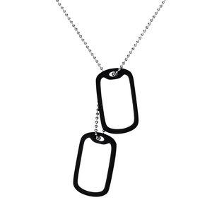 Perro militar por encargo libre de grabado de acero inoxidable de doble collar Etiquetas con goma espaciador EE.UU. Fuerzas Armadas Diseño