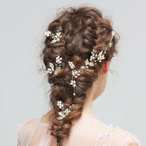 2019 New Gold Leaf Cabelo Pinos de Casamento Headpieces Nupcial Headband Pérolas Do Casamento Do Cabelo Jóias Videira Mulheres Acessórios Headwear