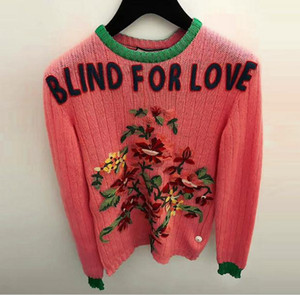2018 High End Dark Pink Blind For Love Pullover Mujer Marca Perlas de Estilo Cristales Tejer Suéteres de Las Mujeres Estilo Runway Suéteres 110132