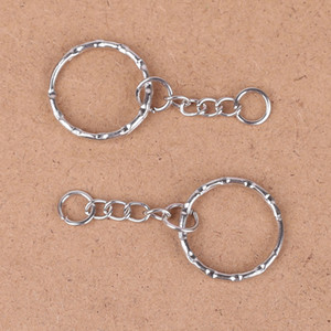 Hot Sell! Antique Silver Band Chain key Ring DIY Accessories Material Accessories