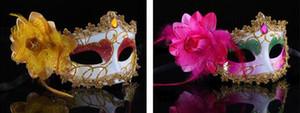 Fashion Women Sexy maschera Hallowmas veneziane maschere in maschera mascherata con fiore di piume maschera di Pasqua festa da ballo maschera festa trasporto di goccia