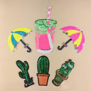 10 pz ombrello cactus bere ferro sulla patch per abbigliamento glitter paillettes patch giacca parches ricamato tessuto patchwork badge appliques