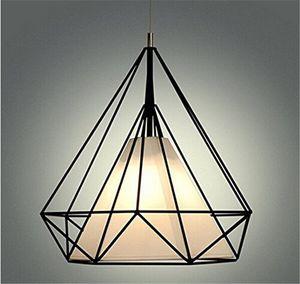 현대 검은 새장 펜 던 트 조명 철 최소한의 복고풍 빛 스칸디나비아 로프트 피라미드 램프 금속 케이지 led 전구