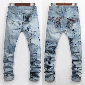 Wholesale- New Brand Men Fashion Embroidered Flares Jeans European and American Luxury Designer Vintage Jeans Slim Straight Denim Jeans
