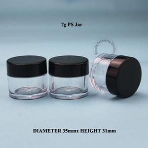 100 adet / grup Yüksek Kalite 7g PS Krem Kavanoz Plastik Yüz Kremi Pot Kadınlar Kozmetik Küçük Flakon Siyah Kapak Ambalaj Göz Farı Kutusu