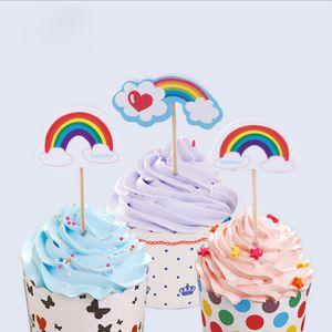 Wholesale-12 pcs / Lot Rainbow Shaped Colrful Colour Party Decoration Supplies Cupcake Toppers Kids Birthday Party favours Decoration Supplies