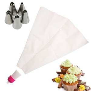 1 Set Icing Piping Cream Pastry Bag con 5pcs Ugelli in acciaio inox Set Cake DIY Decorating Baking Tool Bakeware