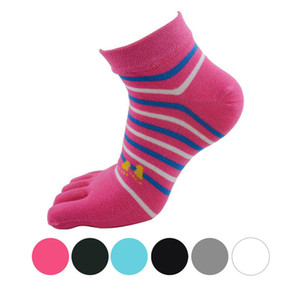 Wholesale-Delicate Hot! 1 Pair Women striped Five Finger Toe Socks Ma25