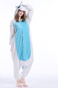 Blue Stock Warm Unicorn Kigurumi Pajamas Animal Suits Cosplay Halloween Costume Adult Garment Cartoon Jumpsuits Unisex Animal Sleepwear
