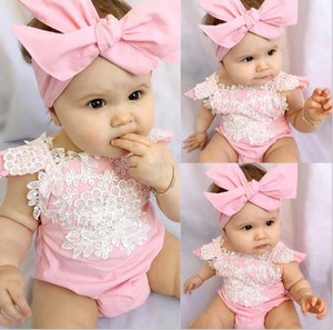 New Summer Ins Infant Baby Girls Flower Lace Cotton Rompers + Bowknot Headband Kids 2pcs Clothing Suit Children Outfits Set Pink