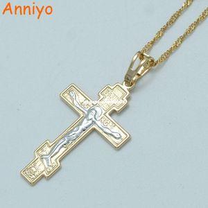 Anniyo Dos Tonos Oro Color Ortodoxo Cristianismo Iglesia Eterno Cruz Colgante Collar Joyas Rusia / Grecia / Ucrania # 011004