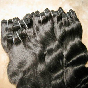 Productos para el cabello de promoción más baratos procesados 100% onda del cuerpo del cabello humano extensiones brasileñas tramas 9 paquetes / lote envío rápido