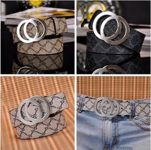 Modelo de la raya de la manera Big hebilla hombres cinturones de diseño Estilo europeo G pretinas de la alta calidad Real cuero mujeres cinturón
