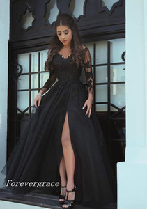 현대 긴 소매 이브닝 드레스 겸손한 것 - 높은 분할 쉬폰 라인 검은 공식적인 파티 가운 사용자 정의 만든 플러스 크기