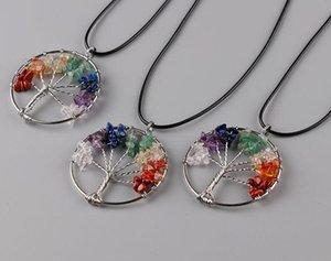 2017 новая мода Радуга 7 чакра Аметист Дерево Жизни кварцевые чипы ожерелье многоцветный мудрость дерево натуральный камень ожерелье