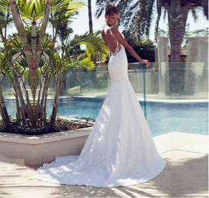 ZGS178 Low Price Luxury Pearls Wedding Dresses robe de mariage Spaghetti Straps Bridal Gowns Lace Mermaid Wedding Dresses 2017