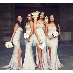 2017 Nova Sereia Vestidos de Dama de honra Querida Frisada Lace Apliques de Alta Dividir Frente Barato Elegante Dama da Honra Vestido de Formatura
