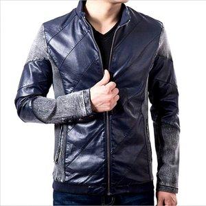 Toptan-Erkekler Denim Dikiş Deri Jacke Casual Basit İnce Ceket Moda Standı Yaka Deri Ceket Erkekler Dikiş Deri Ceket