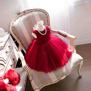 In Stock Flower Girl Dresses jewel ball gown ankle length back zipper sleeveless picture color red