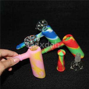 Atacado 10mm Mini Silicone Nectar colecionadores kits com ti domeless nector coletor de plataformas de petróleo bongos de vidro bong de silicone DHL