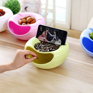 Melamine snack tray mobile holders fruit bowls storage box food plate two layers HWD23