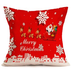 Merry Christmas Custom Zippered Linen Square Throw Pillow Case 18x18 (one side) Cushion Cover Case Festival Decoration