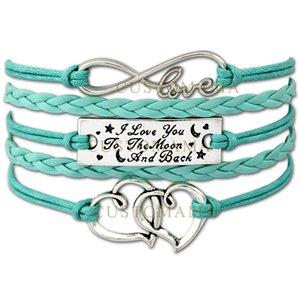 Al por mayor- (10 PCS / Lot) Infinity Love Te amo a la luna y la espalda Doble corazón Charm Bracelet Mejor regalo Cera Cuero Custom Any Themes