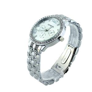 Vigilanza femminile dell'orologio della pietra preziosa dell'orologio della braccialetta dell'oro della signora di modo di marca di diamante delle donne della vigilanza di geneva trasporto libero