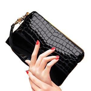 Grano de piedra viaje bolsa de aseo marca de charol mujeres cosméticos bolsa damas maquillaje bolsa piel de vaca moda femenina caja de cosméticos