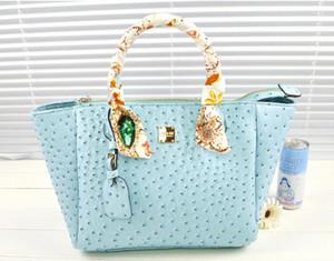 Sıcak Satış-Moda marka deri çanta tote omuz çantaları bayan şeker renk omuz devekuşu deri çanta tahıl çanta çapraz vücut çanta