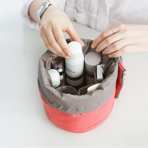 İkonik aynı stil yuvarlak İpli kozmetik çantası yıkama orgnizer paketi çok fonksiyonlu kova seyahat çantaları büyük kapasiteli kozmetik çantası