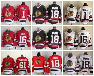 Novo 16 Brett Hull Jersey Homens Chicago Blackhawks 1 Glenn Hall 18 Denis Savard 61 Taça Stanley Vintage CCM Hockey Jerseys Ice
