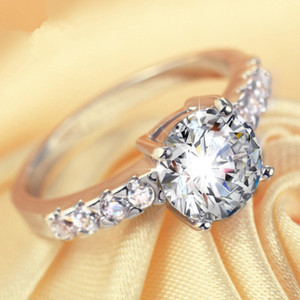 Sterling Silver real Sólidos Anel 1CT NSCD Synthetic Mulheres Diamond Ring Melhor aniversário presente do dia para o querido