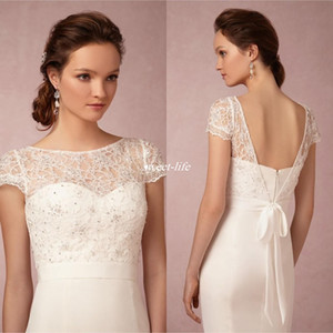 Vintage Bridal Lace Jacket Sheer Bateau Neck with Illusion Short Sleeves Beads Backless Sash Tie Up Wedding Jackets for Brides 2020