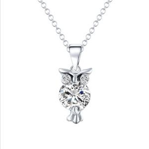 Owl Zirconhalskette 2-Farben-Kristall optional Kleidung Accessoires Halskette Mode hängende Kette