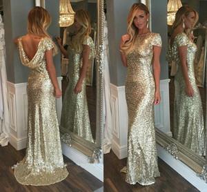 Champagne GoldPaillette Lange Brautjungfernkleider 2021 Sparkly kurze Hülsen-Backless Hochzeit Junior Partei-Kleid-Mädchen der Ehrenkleider