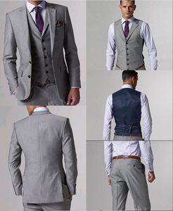 Hohe Qualität Wolle Anzüge Seitenschlitz Hellgrau Bräutigam Smoking Kerbe Revers Mann Anzüge Prom Anzüge (Jacke + Pants + Tie + Vest) L: 02