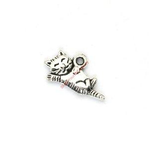Gros-21pcs Animaux plaqués argent antique Beaux chats Charms Pendentifs pour la fabrication de bijoux BRICOLAGE à la main 19x13mm