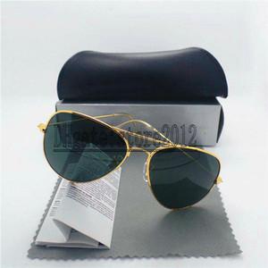 Serin Erkek kadın Güneş Gözlüğü 100% Cam Lens Güneş gözlükleri Metal Çerçeve Yüksek Kalite Pilot Vintage Iki Boyutu Ayna Kılıfları Kutusu Ile ...